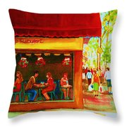 Beautys Cafe With Red Awning Throw Pillow