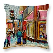 Beautys Luncheonette Montreal Throw Pillow