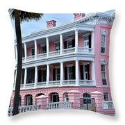 Beauutiful Pink Colonial Style Mansion Throw Pillow