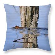 Beaver In Motion Throw Pillow