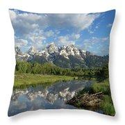 Beaver Lodge And Tetons Throw Pillow