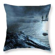 Beaver's Bend Fog Fishing Throw Pillow
