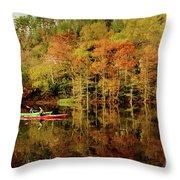 Beaver's Bend Canoeing Throw Pillow