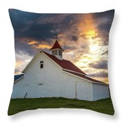 Beckwith Ranch At Sunset With Crepuscular Rays And Virga Throw Pillow