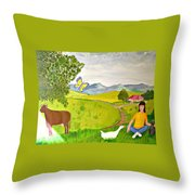 Becky And The Butterfly Throw Pillow