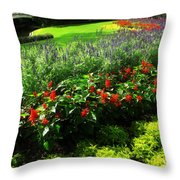 Bed Of Flowers Throw Pillow