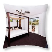 Bed With Canopy Throw Pillow