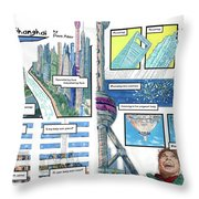 Bedding Shanghai, 2-page Spread  Throw Pillow