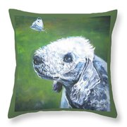Bedlington Terrier With Butterfly Throw Pillow