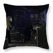 Bedroom In Arles By Night Throw Pillow