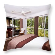 Bedroom With Brown And Cream Theme Throw Pillow
