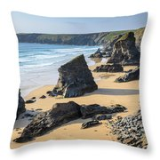 Bedruthan Steps, Cornwall Throw Pillow