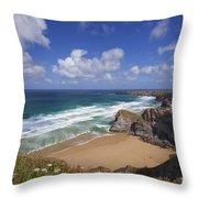 Bedruthan Steps Beach And Atlantic Surf In Summer Sun Cornwall  Throw Pillow