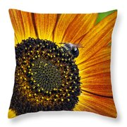 Bee And Sunflower. Throw Pillow