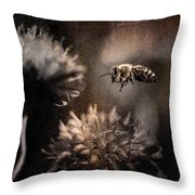 Bee Approaching Red Clover Blossom Throw Pillow