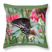 Bee Balm Butterfly Throw Pillow