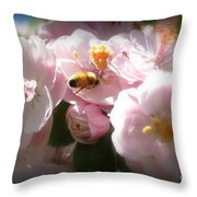 Bee Blossoms 2 Throw Pillow
