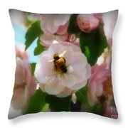 Bee Blossoms Throw Pillow