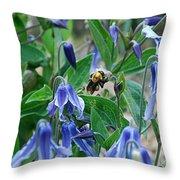 Bee Buzzing Through Blue Beauty Throw Pillow