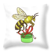 Bee Carrying Gift Box Drawing Throw Pillow