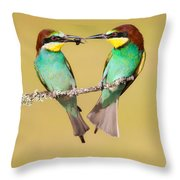 Bee-eater Valentine Heart Throw Pillow