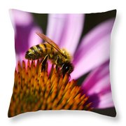 Bee Feasting Throw Pillow