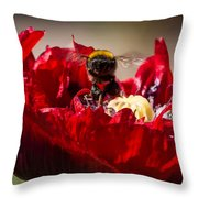 Bee Front With Red Flower Throw Pillow