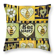Bee Happy Throw Pillow by Jen Norton