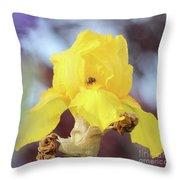 Bee In An Iris Bloom Throw Pillow by Ann E Robson