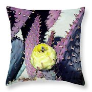 Bee In The Cactus Flower  Throw Pillow