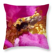 Bee In The Rugosa Throw Pillow