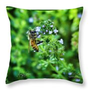 Bee Is In The Oregano Throw Pillow