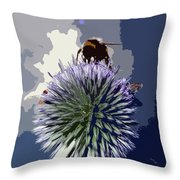 Bee On An Allium Throw Pillow