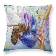 Bee On Blue Lupin Blossom. Throw Pillow
