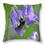 Bee On Bluebell Throw Pillow