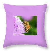 Bee On Chive Flower Throw Pillow by Ann E Robson