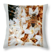 Bee On Flowers 2 Throw Pillow