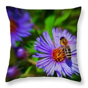 Bee On Lavender Flower Throw Pillow