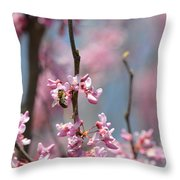 Bee On Pink Bloom Throw Pillow