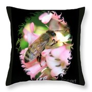Bee On Pink Flower With Swirly Framing Throw Pillow