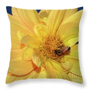 Bee On Pretty Dahlia By Kaye Menner Throw Pillow