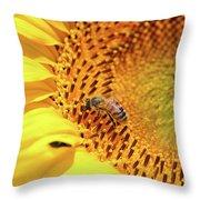 Bee On Sunflower Summer Nature Scene Throw Pillow
