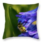 Bee On The Hyacinth Throw Pillow