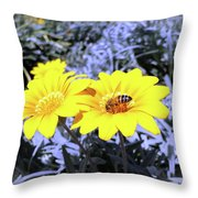 Bee On The Yellow Throw Pillow