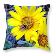 Bee On Wild Sunflowers Throw Pillow