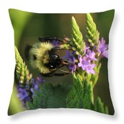 Bee On Wildflower Throw Pillow