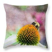 Bee On Yellow Coneflower Throw Pillow