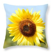 Bee On Yellow Sunflower Throw Pillow