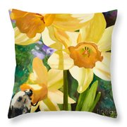 Bee Open By Marilyn Nolan-johnson Throw Pillow