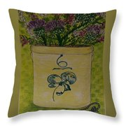 Bee Sting Crock With Good Luck Bow Heather And Thistles Throw Pillow